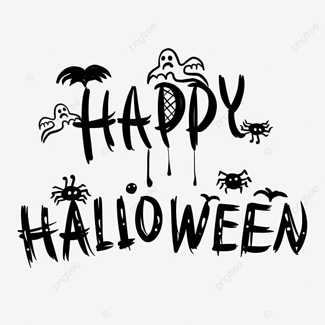 black line drawing cartoon halloween art word