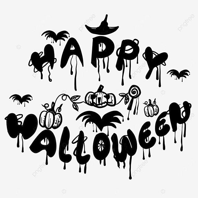cartoon black and white painting halloween art word