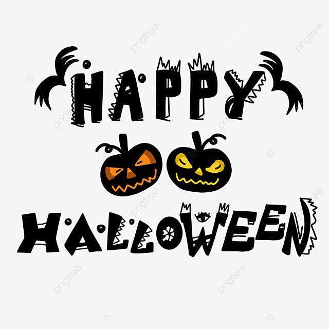 cartoon pumpkin halloween black art word