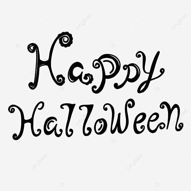 cute cartoon black and white painting halloween art word
