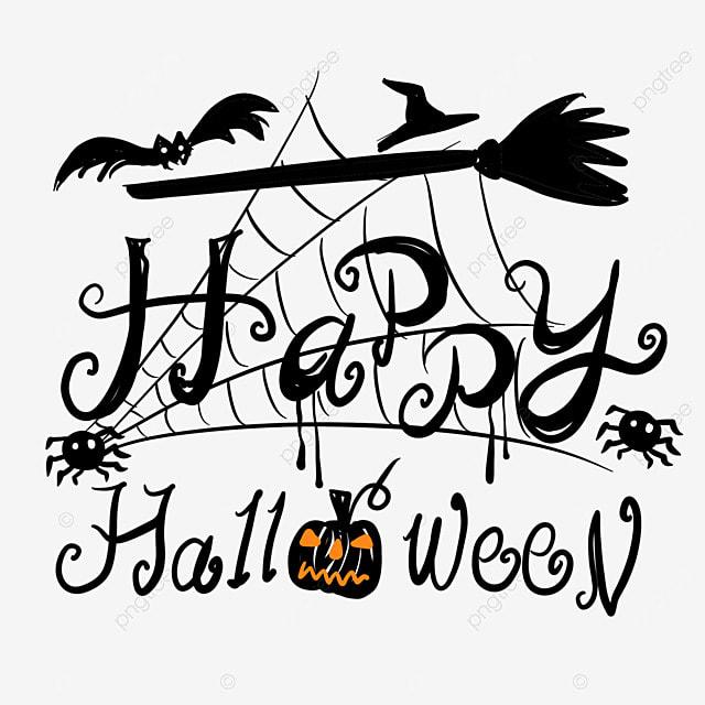 halloween orange pumpkin black art word