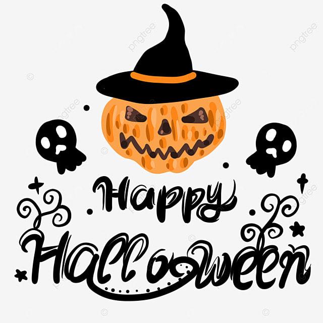 hat pumpkin color halloween word art