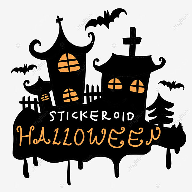orange black halloween haunted house art calligraphy and painting