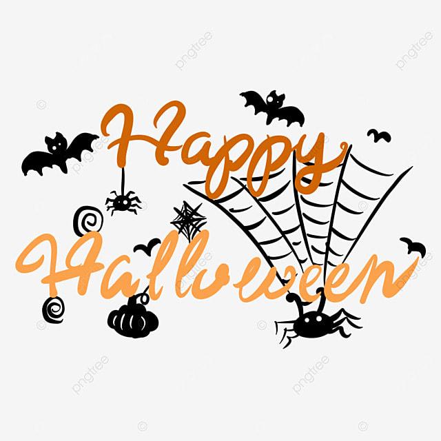 orange spider web halloween black art word