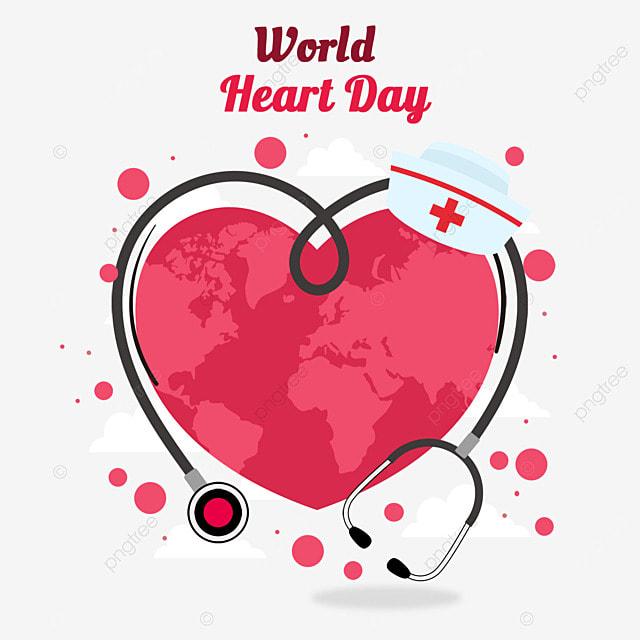 world cardiology day love stethoscope nurse hat