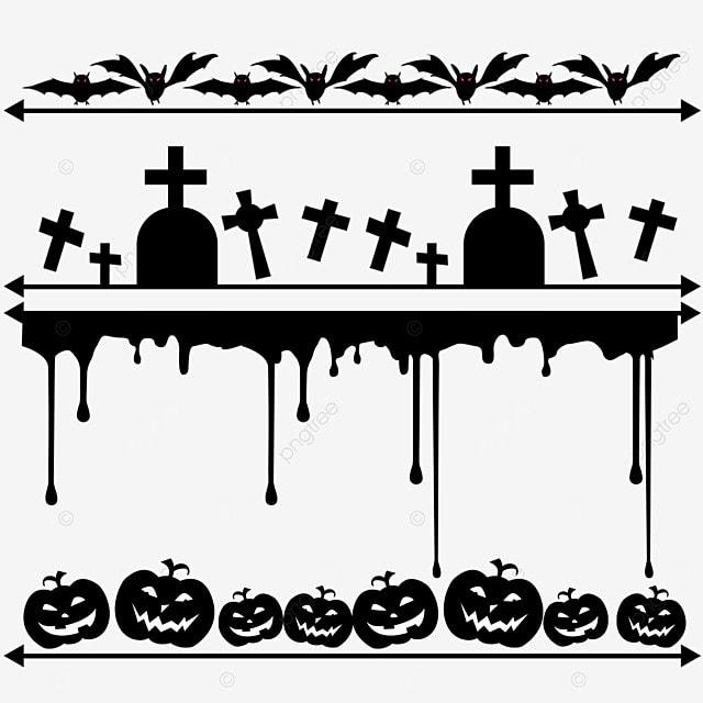 cartoon black bat halloween border dividing line