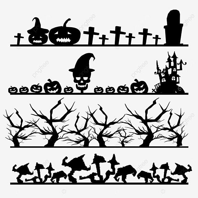 cartoon black halloween border dividing line