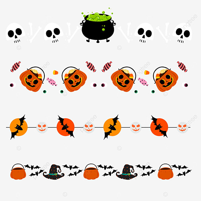 cartoon halloween bat pumpkin border dividing line
