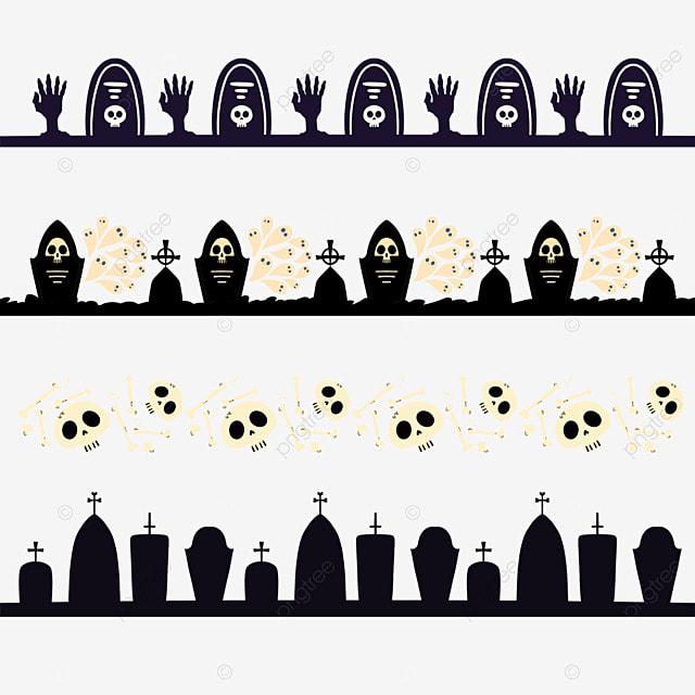 cartoon halloween graveyard border dividing line