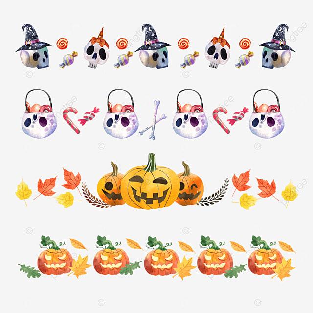 cartoon halloween pumpkin border dividing line