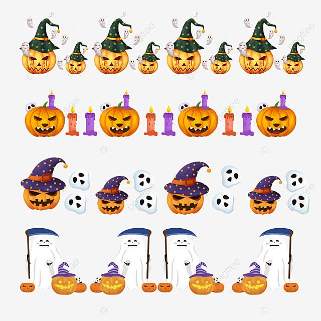 cartoon halloween pumpkin emoji border dividing line