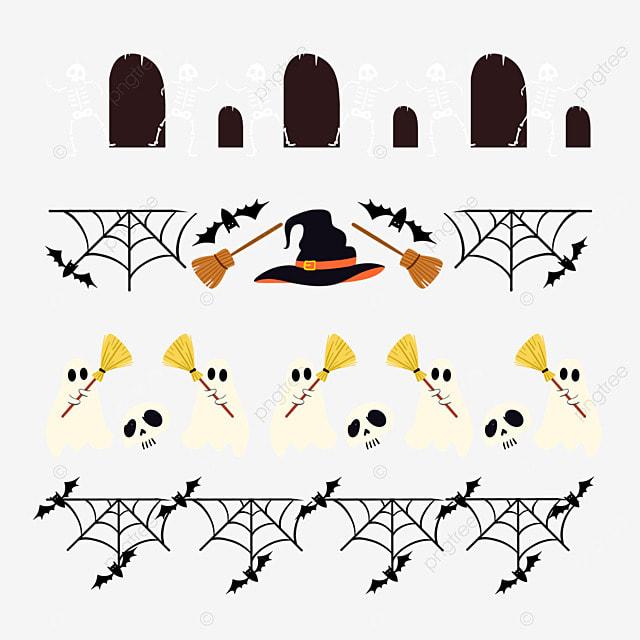 cartoon halloween spider web border dividing line