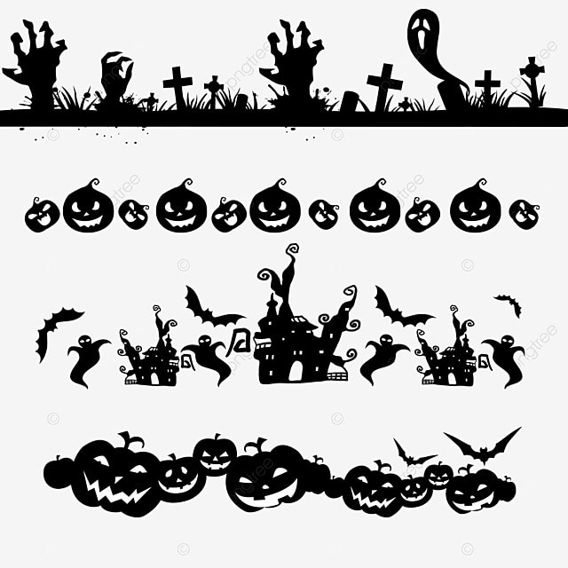 cartoon halloween spooky border dividing line