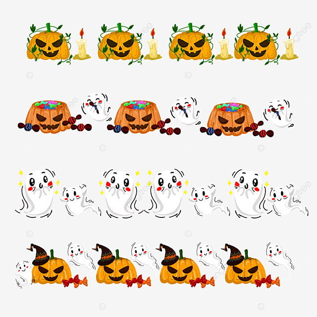 cartoon spooky pumpkin halloween border dividing line