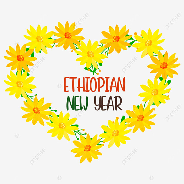 ethiopian new year small yellow border in heart shape