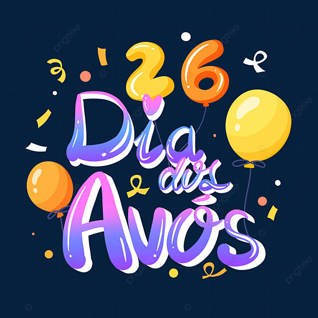 brazilian grandparents day cute cartoon font
