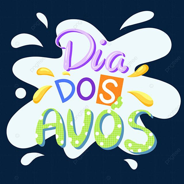 cute cartoon brazilian grandparents day art font