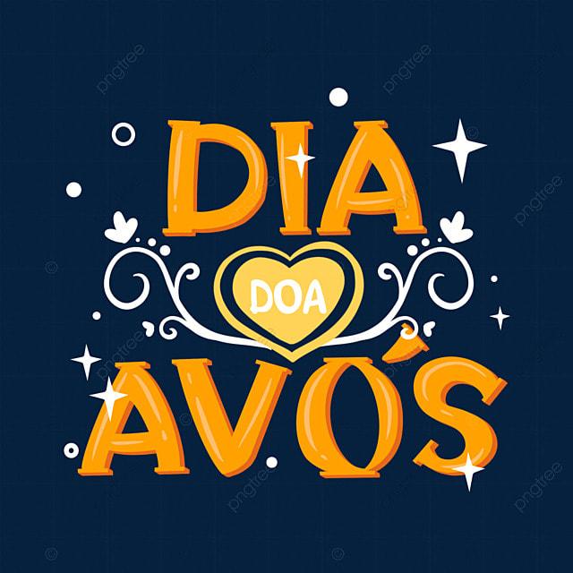 orange brazilian grandparents day font typography