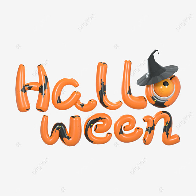 3d halloween orange cartoon character