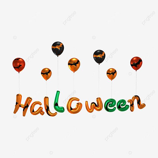 3d orange halloween balloon word