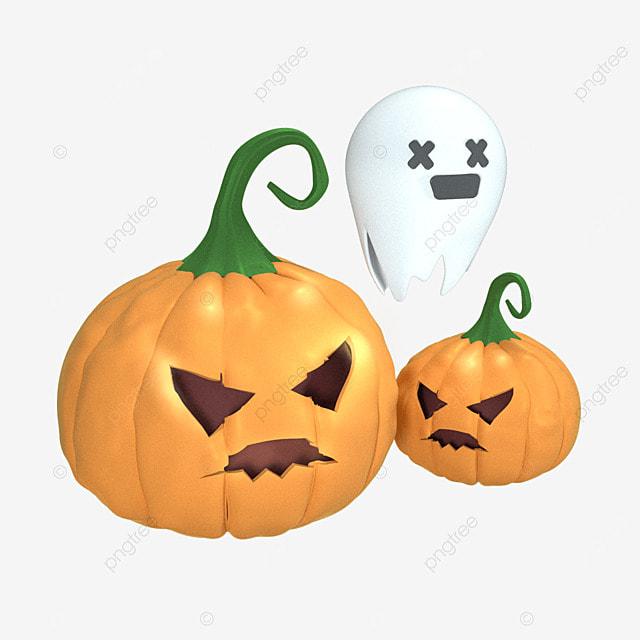 3d orange halloween pumpkin ghost