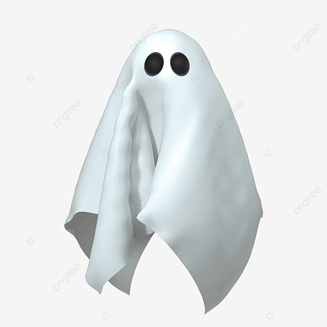 3d white halloween ghost