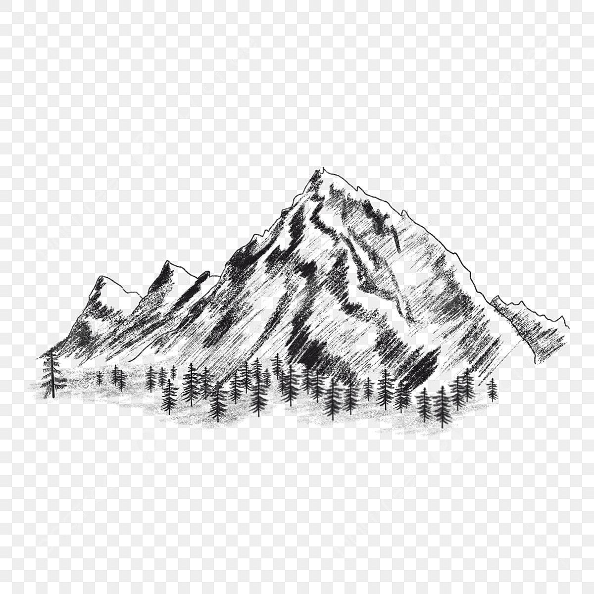 Gambar Sketsa Lukisan Pemandangan Gunung Hitam Putih White, Sketsa ...