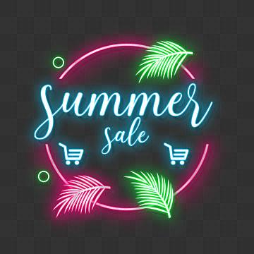 ฤดูร้อนขายป้ายไฟนีออนสดใสโฆษณาส่วนลด, สไตล์, การขาย, ธาตุนีอ็อน PNG และ PSD