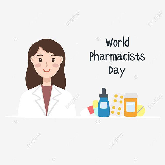 hand drawn illustration female pharmacist on world pharmacists day vector