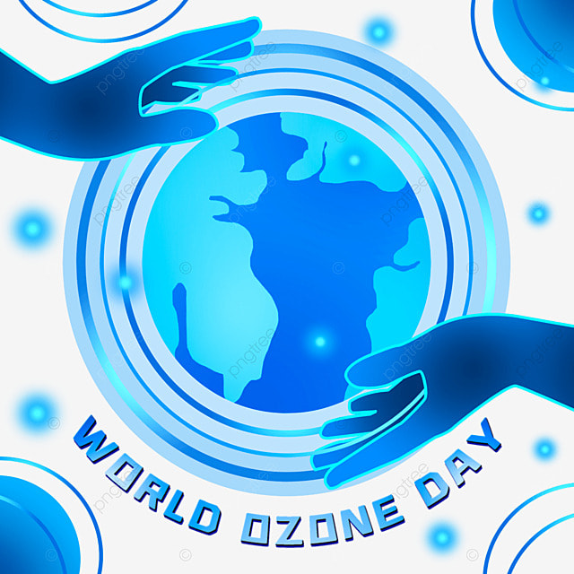 world ozone day blue earth and hands illustration