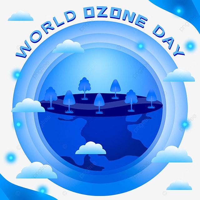 world ozone day blue ecological environment illustration