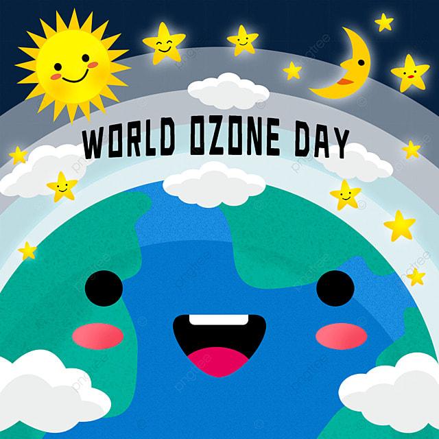 world ozone day cute cartoon illustration