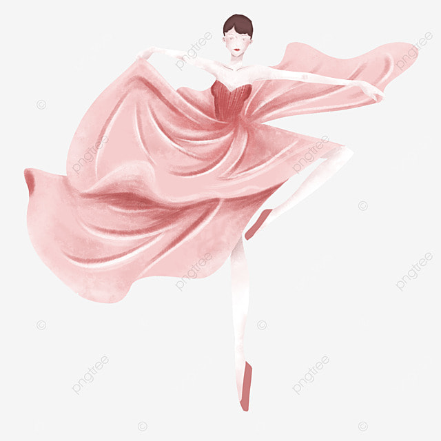 ballerina dancer in watercolor long skirt