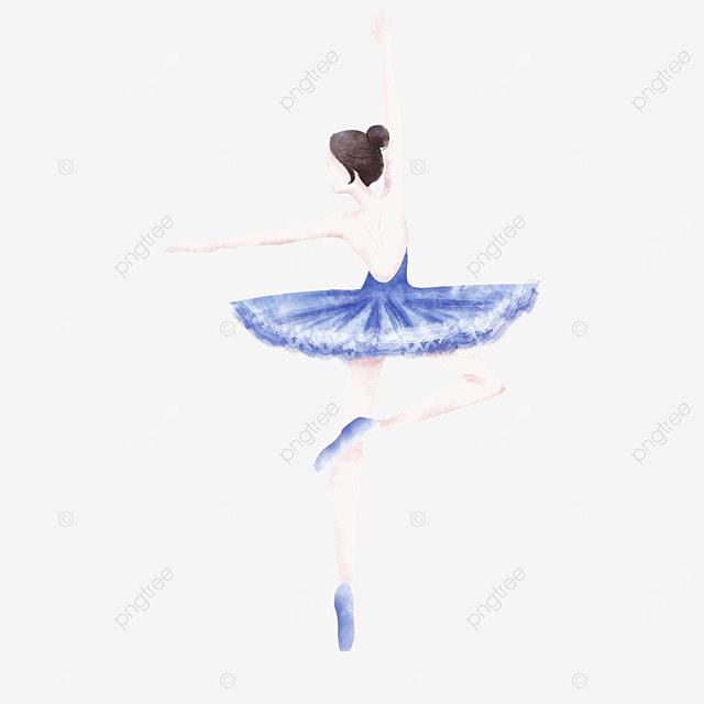 blue watercolor ballerina