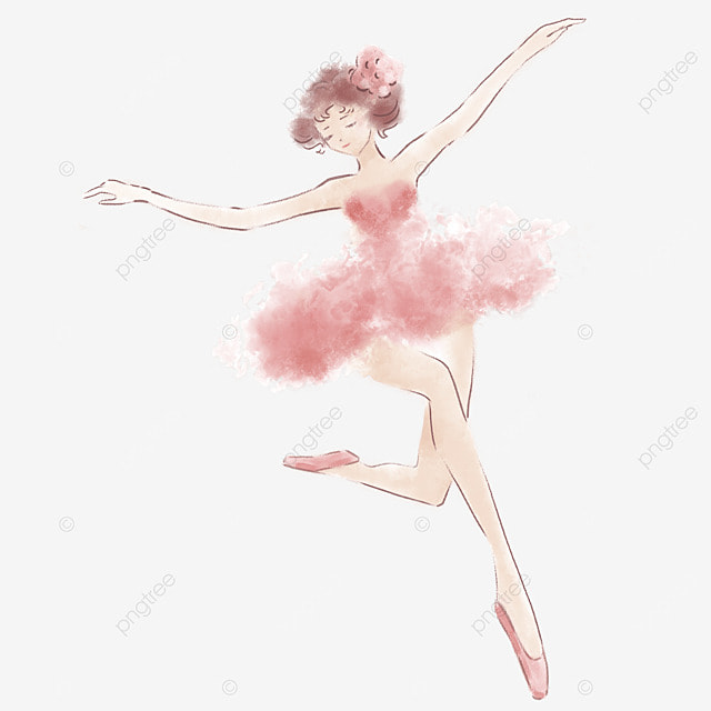 red watercolor ballerina female