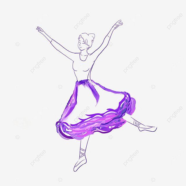 ballet watercolor purple skirt girl