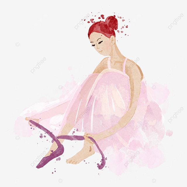 ballerina tying shoelaces watercolor pink