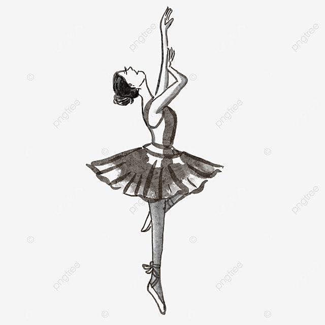 ballerina watercolor blooming black and white