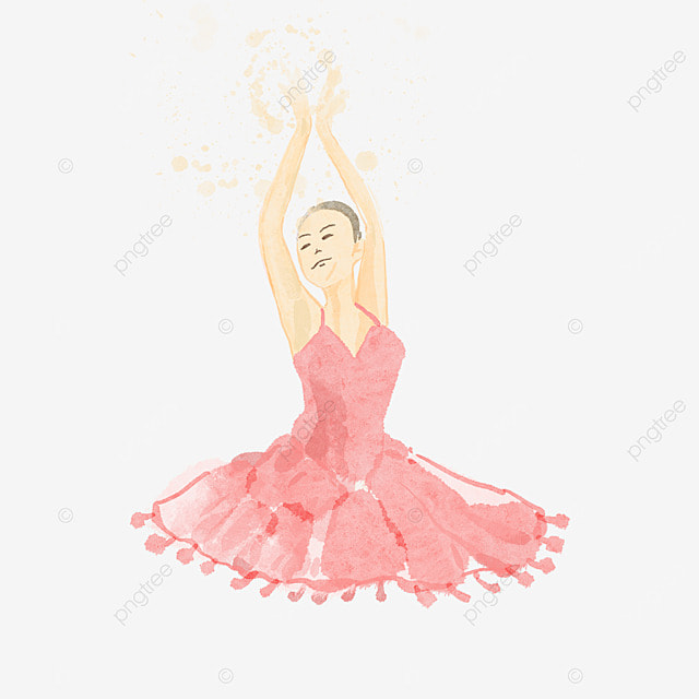 ballerina watercolor style red