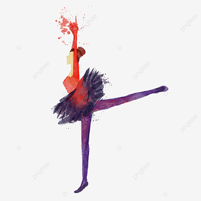 ballerina watercolor style silhouette red