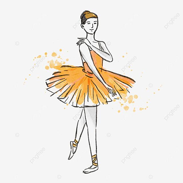ballerina watercolor style yellow