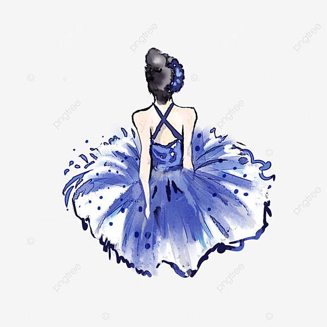ballerina watercolor girl back view
