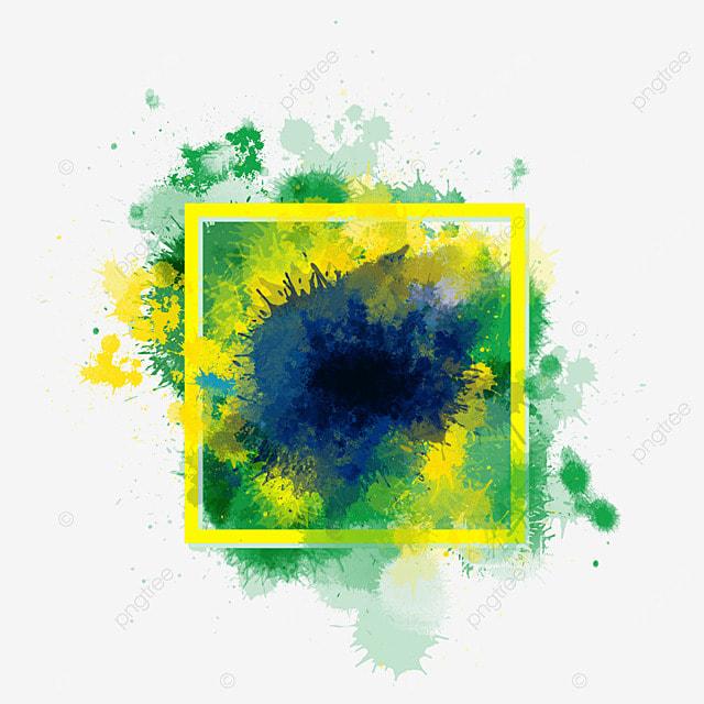 brush brazil flag color border irregular abstract