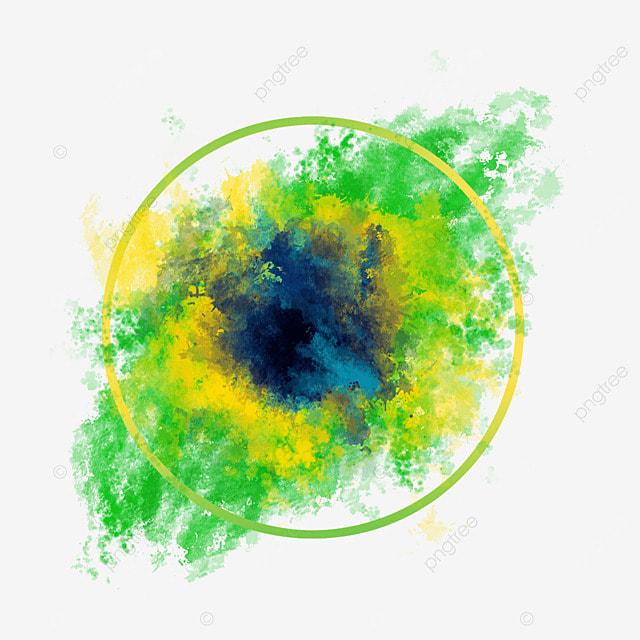 brush brazil flag color irregular watercolor