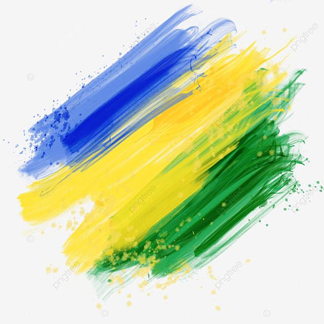 brush brazil flag colors tricolor watercolor
