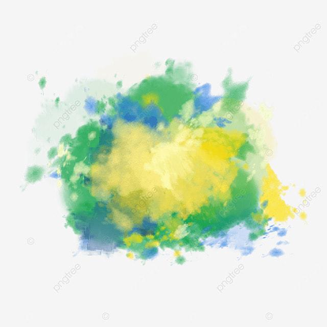 brush brazil flag colors watercolor