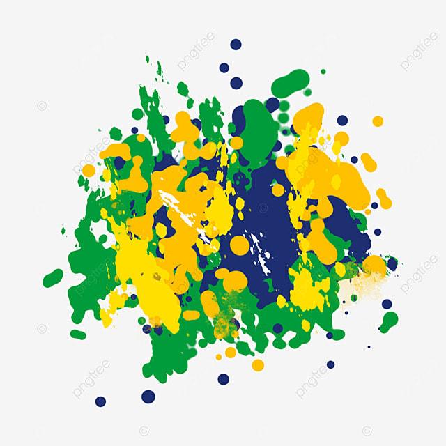 brush brazilian flag color splash art