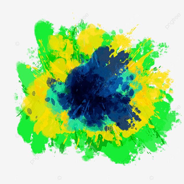 brushstroke brazil flag color splash abstract creative