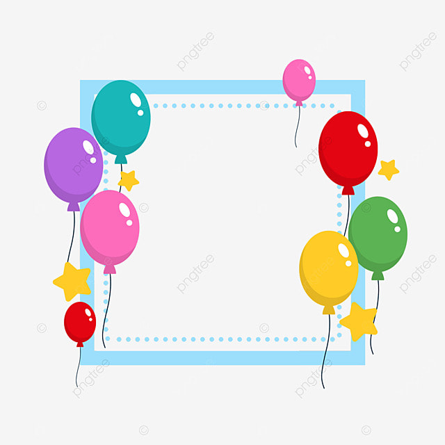 decorative border birthday balloons