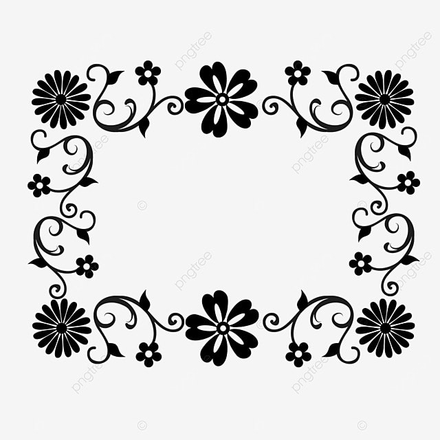 decorative border black and white linear draft beautiful flowers